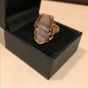 Rose Quartz ring handmade with 18 ct gold